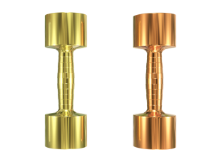 Brass and Copper dumbbells