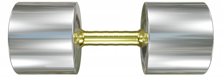 Heavy Stainless Steel dumbbell with brass handle